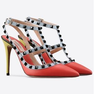 Valentino Rockstud Leather Coral 7.5 100mm Pumps